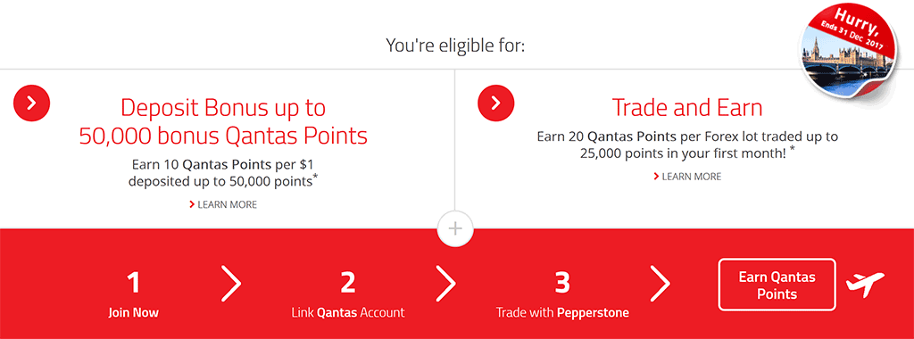 Pepperstone bonus Qantas points promotion for December 2017