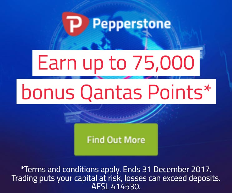 Pepperstone bonus Qantas points promotion