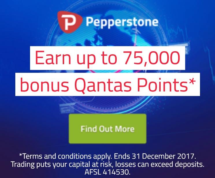 Pepperstone bonus Qantas points promotion