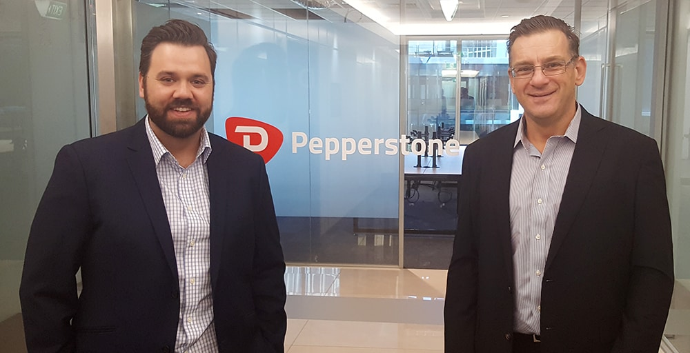 Pepperstone review performed by Stuart Young (reviewer from Online Brokers Australia) with Mitchell Walls (Head of Sales at Pepperstone Australia)